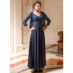 A-Line/Princess Chiffon Sleeveless V-neck Ankle-Length Zipper Up at Side Mother of the Bride Dresses (008213164)