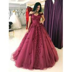 Sleeveless Ball-Gown Prom Dresses Off-the-Shoulder Appliques Lace Sweep Train