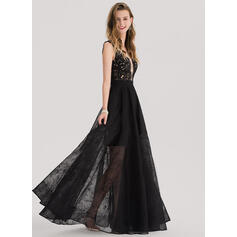 A-Line/Princess V-neck Floor-Length Lace Prom Dresses With Beading (018138346)