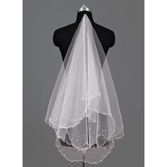 Waltz Bridal Veils Tulle One-tier Oval With Scalloped Edge Wedding Veils