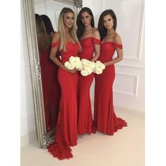 Trumpet/Mermaid Sweep Train Lace Jersey Sleeveless Bridesmaid Dresses