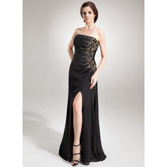 A-Line/Princess Strapless Floor-Length Evening Dresses With Ruffle Beading Sequins Split Front (017016336)