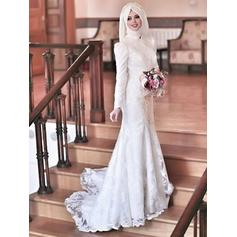 General Plus Sheath/Column Tulle Newest Wedding Dresses With Long Sleeves