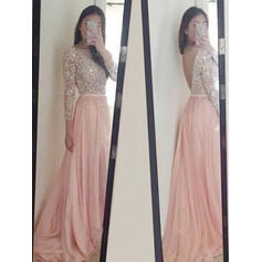 Scoop Neck A-Line/Princess Tulle Long Sleeves Simple Prom Dresses (018212222)