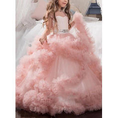 2019 New Floor-length Ball Gown Flower Girl Dresses Sweetheart Short Sleeves