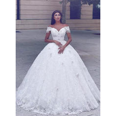 2019 New Chapel Train Ball-Gown Wedding Dresses Off-The-Shoulder Lace Sleeveless