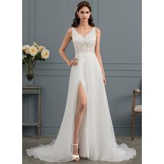 Corte A Decote V Sweep/Brush trem Organza de Vestido de noiva com lantejoulas Frente aberta (002145288)