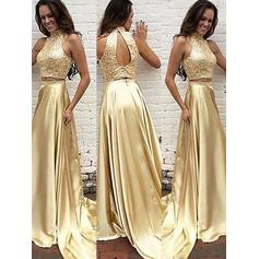 A-Line/Princess Charmeuse Prom Dresses Beading High Neck Sleeveless Sweep Train