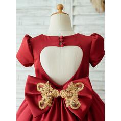 Forme Princesse Longueur genou Robes à Fleurs pour Filles - Satiné/Tulle Manches courtes Col rond avec À ruban(s)