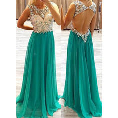 Elegant A-Line/Princess Scoop Neck Chiffon Prom Dresses (018144670)