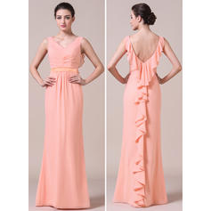 V-neck Trumpet/Mermaid Chiffon Sleeveless Bridesmaid Dresses (007056864)