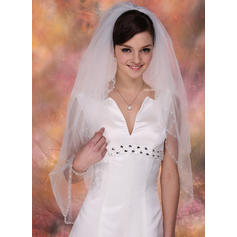 Fingertip Bridal Veils Tulle Two-tier Classic With Pearl Trim Edge Wedding Veils