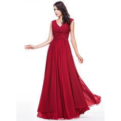 A-Line/Princess V-neck Floor-Length Chiffon Evening Dress With Ruffle (017056506)