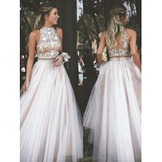 Chiffon Sleeveless Ball-Gown Prom Dresses High Neck Beading Floor-Length