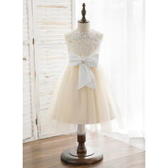 A-Line/Princess Knee-length Flower Girl Dress - Tulle/Lace Sleeveless Scoop Neck With Beading/Bow(s) (010164730)