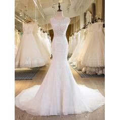 Stunning Scoop Trumpet/Mermaid Wedding Dresses Sweep Train Tulle Sleeveless