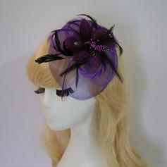 Señoras' Elegante/Encanto Pluma/Hilado de la red/Flores de seda con Pluma/Flores de seda Tocados