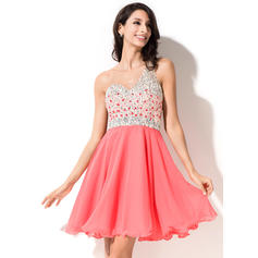 A-Line/Princess One-Shoulder Short/Mini Chiffon Homecoming Dresses With Beading Sequins (022214021)