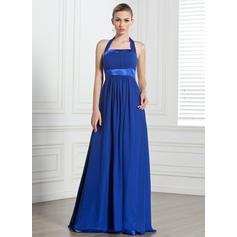 Chiffon Sleeveless Empire Bridesmaid Dresses Halter Ruffle Bow(s) Floor-Length