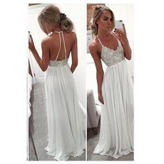 Chiffon Sequins V-neck Sleeveless Prom Dresses