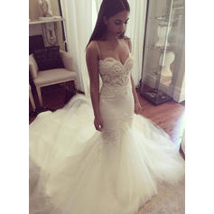 Tulle Cathedral Train With Spaghetti Straps Wedding Dresses