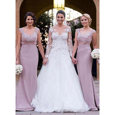 Trumpet/Mermaid Sleeveless V-neck Lace Jersey Bridesmaid Dresses (007144985)