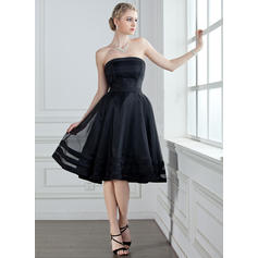 A-Line/Princess Organza Bridesmaid Dresses Strapless Sleeveless Knee-Length (007001813)