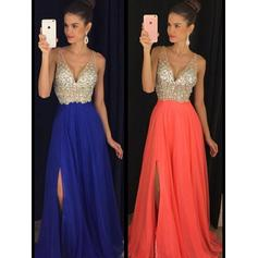 A-Line/Princess V-neck Chiffon Sleeveless Floor-Length Beading Evening Dresses