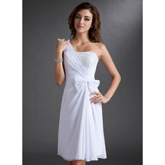 Sheath/Column One-Shoulder Knee-Length Chiffon Homecoming Dresses With Ruffle Beading Bow(s)