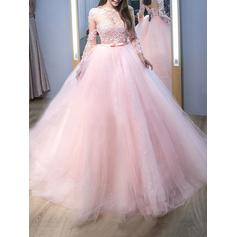 Ball-Gown Scoop Neck Tulle Long Sleeves Sweep Train Lace Evening Dresses