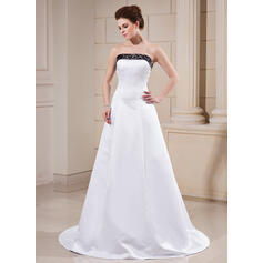 A-Line/Princess Strapless Court Train Satin Wedding Dress With Sash Beading (002000068)