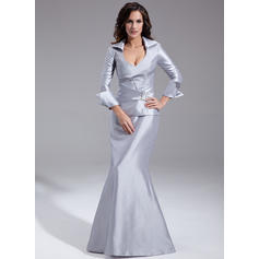 Trumpet/Mermaid Taffeta Long Sleeves V-neck Floor-Length Zipper Up Mother of the Bride Dresses