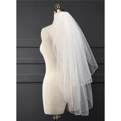 Walzer Braut Schleier Tüll Zweischichtig Klassische Art mit Wellenkante Brautschleier