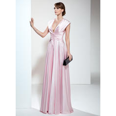 A-Line/Princess Charmeuse Sleeveless V-neck Floor-Length Zipper Up Mother of the Bride Dresses