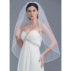 Yema del dedo velos de novia Tul Uno capa Estilo clásico con Con abalorios Velos de novia