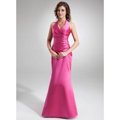 Trumpet/Mermaid Satin Prom Dresses Ruffle Halter Sleeveless Floor-Length