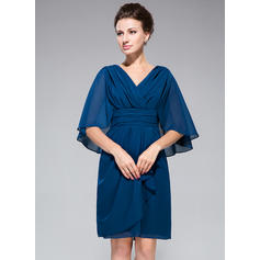 Sheath/Column V-neck Chiffon 1/2 Sleeves Knee-Length Ruffle Mother of the Bride Dresses