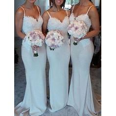 Trumpet/Mermaid Sweetheart Sweep Train Bridesmaid Dresses (007144960)