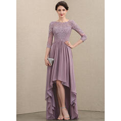 A-Line Scoop Neck Asymmetrical Chiffon Lace Mother of the Bride Dress With Ruffle (008195387)