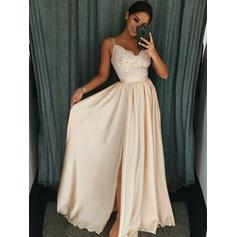 Chiffon Sleeveless A-Line/Princess Prom Dresses V-neck Ruffle Appliques Split Front Floor-Length