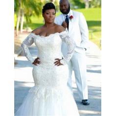 Glamorous Tulle Wedding Dresses Trumpet/Mermaid Sweep Train Off-The-Shoulder Long Sleeves