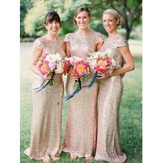 Sequined Short Sleeves Sheath/Column Bridesmaid Dresses Scoop Neck Floor-Length