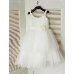 Scoop Neck A-Line/Princess Flower Girl Dresses Tulle/Sequined Flower(s) Sleeveless Tea-length