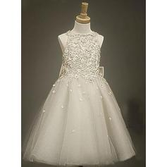 Beautiful Scoop Neck A-Line/Princess Flower Girl Dresses Tea-length Tulle/Lace Sleeveless