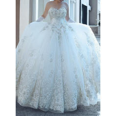 Sleeveless Cathedral Train Tulle Ball-Gown Wedding Dresses