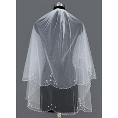 Elbow Bridal Veils Tulle Two-tier Cascade With Beaded Edge Wedding Veils