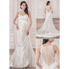 Regular Straps Sleeveless Sweetheart With Charmeuse Wedding Dresses