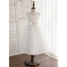 Forme Princesse Longueur genou Robes à Fleurs pour Filles - Tulle/Dentelle Sans manches Col rond avec À ruban(s) (010164613)