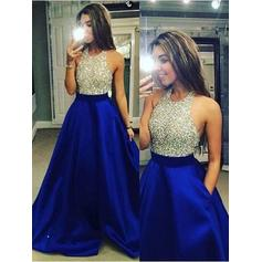 Satin Sleeveless A-Line/Princess Prom Dresses Halter Floor-Length