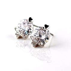 """Earrings Zircon/Platinum Plated Pierced Classic 0.47""""(Approx.1.2cm) Wedding & Party Jewelry"""